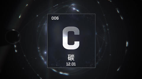 Carbon as Element 6 of the Periodic Table 3D animation on silver background Animation