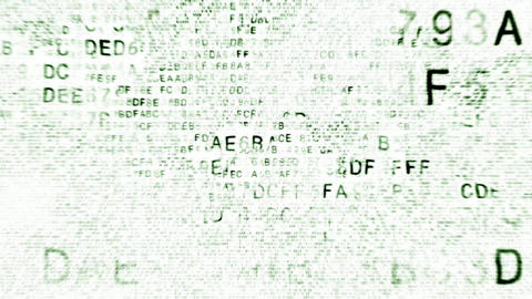 animated green hexadecimal code fragments on black background Animation