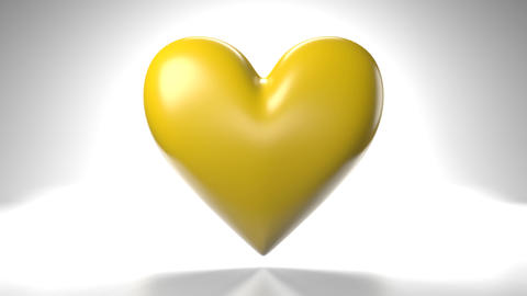 Pulsing yellow heart shape object on white background Animation