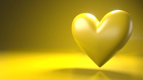 Pulsing yellow heart shape object on yellow text space Animation