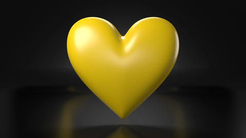 Pulsing yellow heart shape object on black background Animation