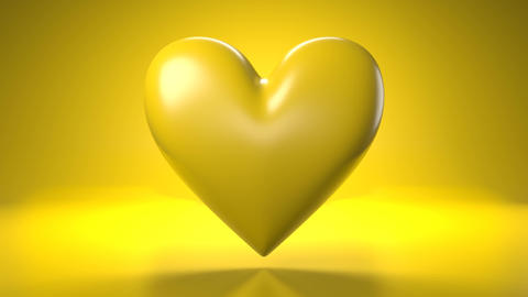 Pulsing yellow heart shape object on yellow background Animation