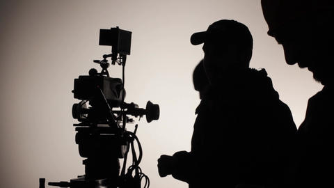 Film crew during filming. Filmmaking. Shooting. Film production Live Action