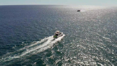 Speedboat Vessel Sailing on Open Sea Near Cabo San Lucas, Famous Mexico Live Action