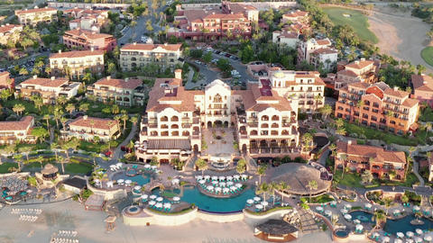 Aerial, exotic Cabo, Upscale Destination and Resort in Baja California, Mexico Live Action