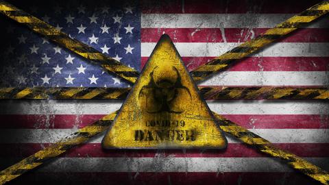 Coronavirus COVID-19 outbreak. Worn Yellow Biohazard, danger, warning sign over flag of America, GIF