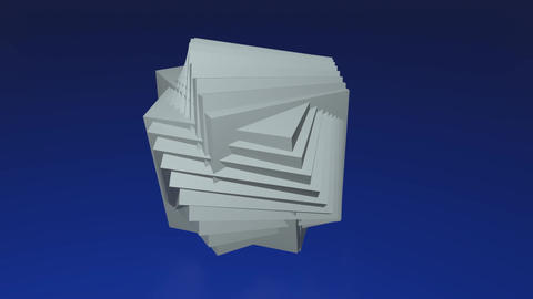 Interesting abstract geometric three dimensional body made of cubes, 3d white Animation