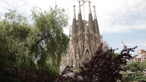 Sagrada Familia Temple view Footage