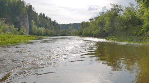 Descent of the river Serga, Russia Footage