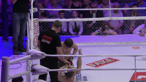 Orenburg, Russia - 27 May 2016: MMA fighters compete at international tournament Footage