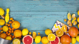 Citrus Fruits stop motion animation copy space 4k intro video food background Footage