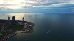 Flying over Batumi City Georgia coast 4k travel video. Aerial bay, tower, beach Footage