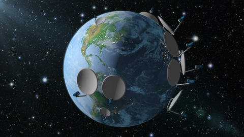 Earth with satellite dish Animation