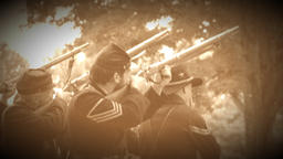 Civil War soldiers fire of rounds (Archive Footage Version) Live Action