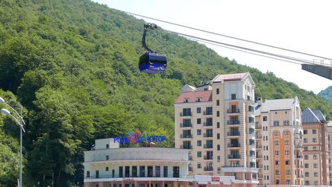 Rosa Khutor. Funicular Gazprom. Alpika Service, Sochi, Russia Footage