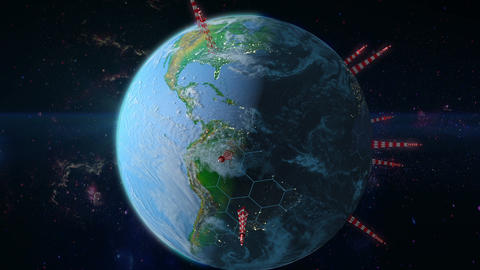 Earth with towers antennas Animation