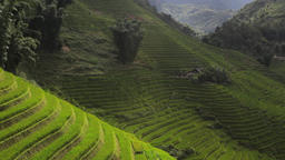 House in the rice terraces valley panorama view of Sapa Vietnam Footage