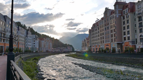 Quay Rosa Khutor in the evening, Mzymta River, Sochi, Russia Footage