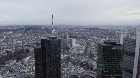 AERIAL: Epic View of Frankfurt am Main, Germany Skyline Main Tower on Cloudy Live Action