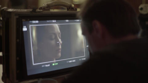 Film director monitor during filming. Filmmaking. Film production Live Action