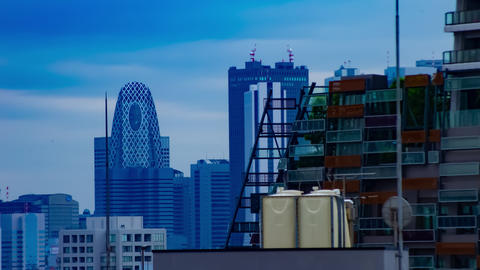 A timelapse of cityscape at the urban city in Tokyo high angle long shot zoom Live Action