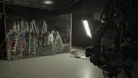 Preparation of scenery on the set of the film. Filmmaking. Shooting Live Action