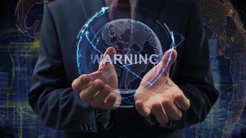 Male hands activate hologram Warning Live Action