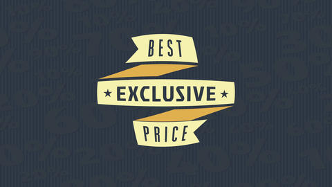 product sale design with a ribbon of textile material with text written over a surface with big Animation