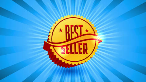 best seller sale event design with golden 3d wavy figure with large shiny lettering text chopped in Animation