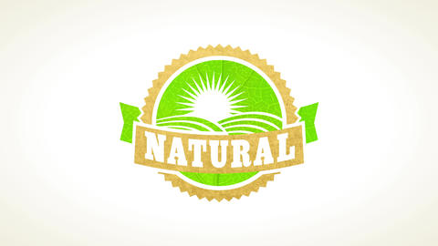 bio eco kind stamp of natural organic nurture made on a leaf and recycled paper texture Animation