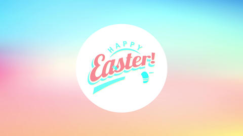round happy easter design with painted egg doodles decorating it over a vibrant color background Animation