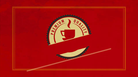 formal red design of caffeine product built with circular sketch and a warm teacup interior Animation