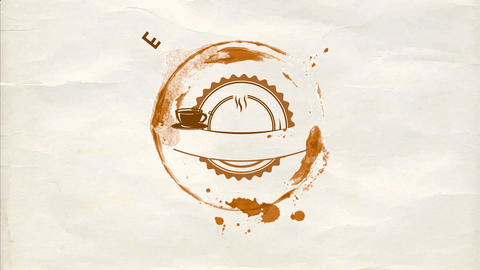 rounded cafe bar brand design composed with a coffee cup doodle in the center of a chocolate stain Animation