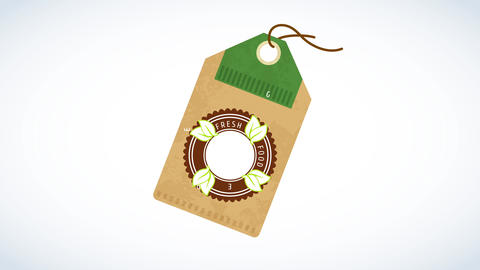 healthy organic natural food product design in the form of a tag with a rounded seal decorated with Animation