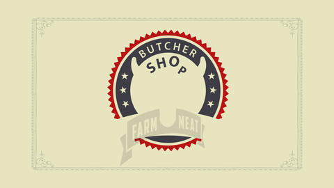 elegant butcher shop design with a seal concept art composed with the head of a red cow over a ring Animation