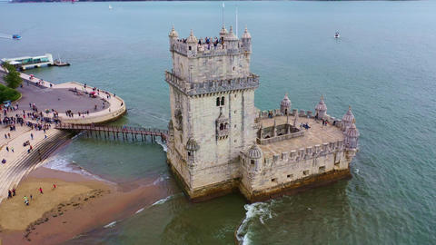 Flight around famous Belem Tower in Lisbon Live Action