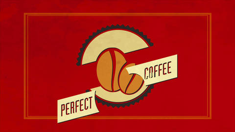 red aged circled design for a cafe bar garnished with caffeine beans inside a wavy wheel CG動画