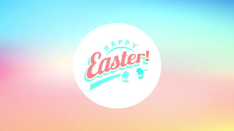 circular satisfied easter design with painted eggs doodles decorating it over a vibrant color Animation
