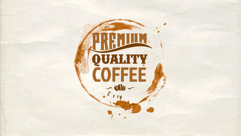 coffee cup stain for a cafe bar written with text of various old fashion typography on a napkin Animation
