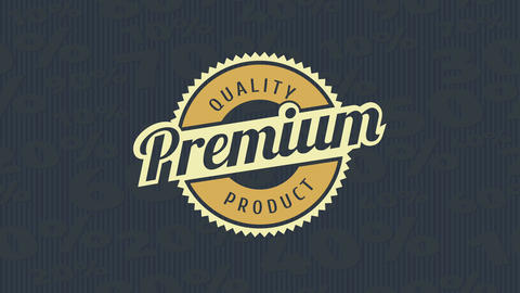 textile product concept art with the word premium written in the center of a pointy rounded design Animation