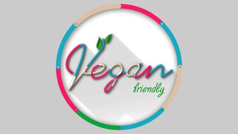 Vegan friendly title in a circular shape Animation