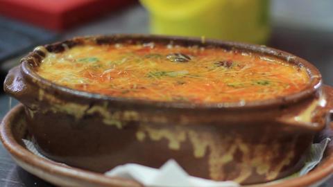 Hot Italian Lasagna Bolognese, National Cuisine Restaurant Food, Close Up Live Action