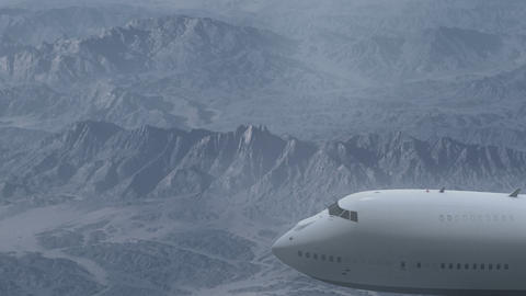 Airliner Flying Above Rocky Mountains Live Action