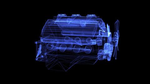 Hologram of auto engine Live Action