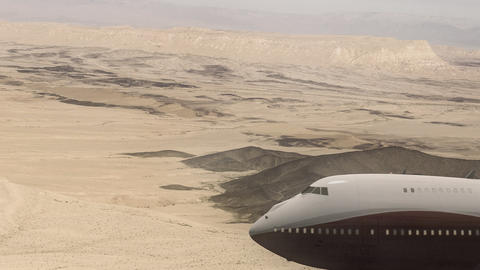 Airliner Crossing a Desert in a Dust Storm Live Action