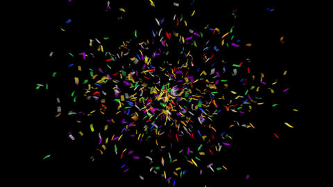 4K Colorful Confetti with Alpha Matte Channel Animation