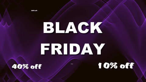 Black friday, white lettering, animated title on black background with animated Animation