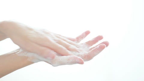 Washing hand with soap isolated on white background GIF