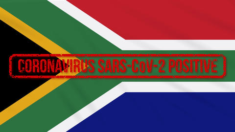 South Africa swaying flag stamped with positive response to COVID-19, loop Animation