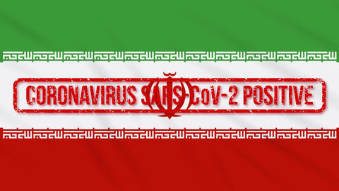 Iran swaying flag stamped with positive response to COVID-19, loop Animation